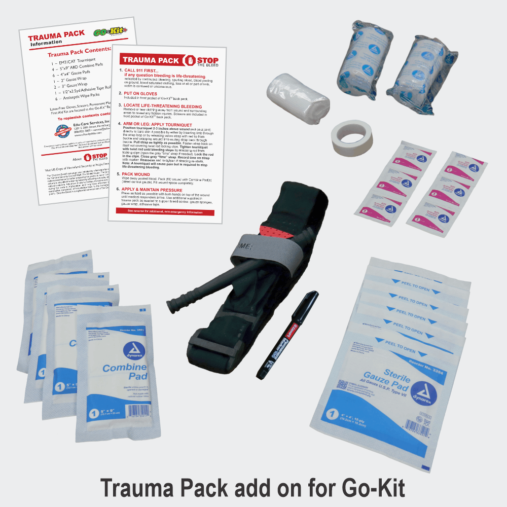 Trauma Pack for Go-Kit Classroom Emergency Preparedness Kit with Bleed Control Contents